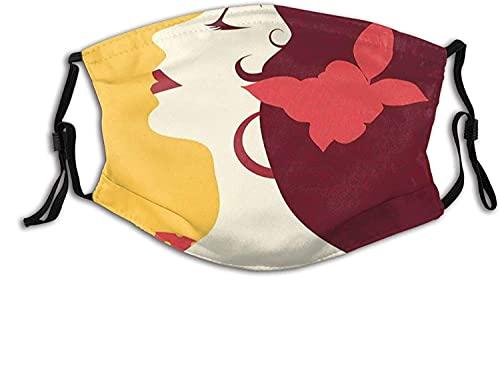 Modische 2-lagige waschbare Schutzabdeckung, wiederverwendbare Maske, Flamenco-Frau im Retro-Pünktchenkleid mit Blume im Haar, Rhythmus-Tänzerin   mit Filter