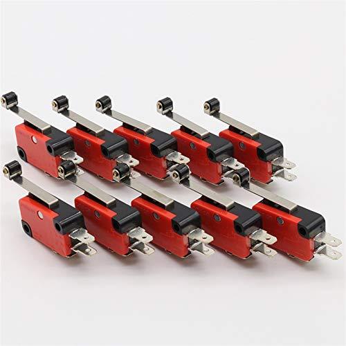 Kfdzsw Micro Interruptor Hot 10 PCS Micro Límite Interruptor de bisagra Larga Palanca de Roller Brazo de acción a presión