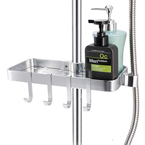 Raum Aluminium Duschregal ohne Bohren - Anzug [24mm-25mm] Duschstange Verstellbar Höhe, Duschregale Badregale zum Hangen für Badezimmer Soap Shampoo Conditioner mit Halter Ständer, 4 Haken