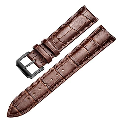 Banda de Reloj del Cuero del Becerro Suave Genuino Correa de Reloj de 18mm 20mm 22mm 24mm Venda de Reloj de Pulsera de, Marrón Oscuro, 24mm