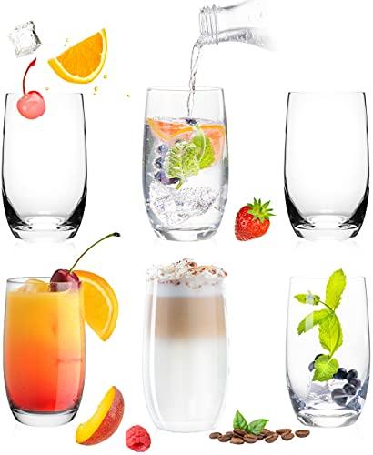Elegantes vasos de cristal de 320 ml, juego de 6 piezas, vasos de agua, zumo, vasos grandes