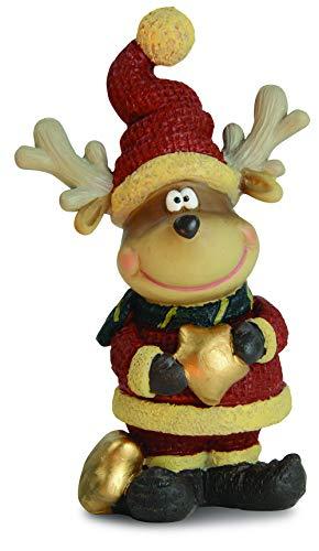 Goldschmidt Weihnachtsdeko Dekofigur Elch Erich | Rentier Weihnachtsmann Deko Figur | Weihnachten Tischdeko Regaldeko | Motiv nach Wahl (stehend)