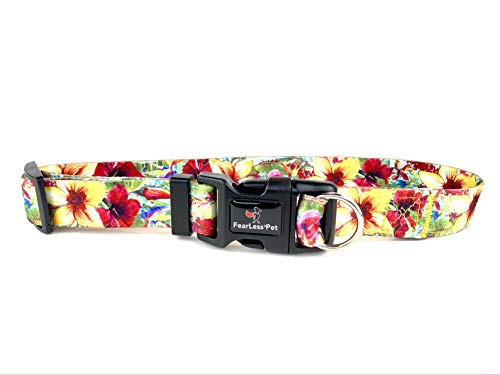 FearLess Pet Hundehalsband, ausbruchsicher, mit hawaiianischem Blumenmuster