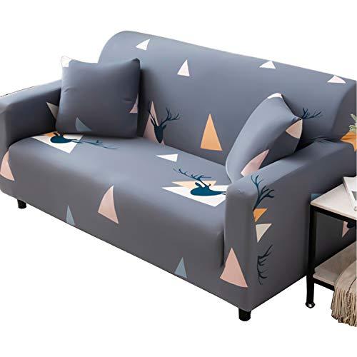 BHAHFL Fundas elásticas para sofá de 1 Pieza - Fundas para sofá con Estampado de poliéster y Spandex - Funda/Protector para Muebles para sofá con Base elástica,C,3Seater