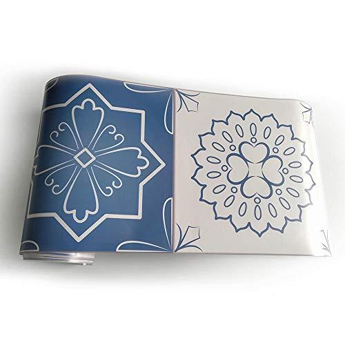 JMSHTU Pegatinas para azulejos cocina baño borde autoadhesivo azul vintage DIY Wall Peel Stick decoración extraíble impermeable