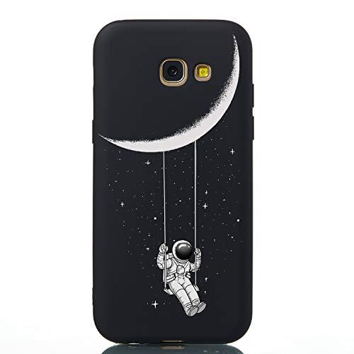 WIWJ Handyhülle für Samsung Galaxy A5 2017 Hülle Schwarz Matt Lustig Muster Cover Ultra Dünn Weiche TPU Silikon Etui Gummi Kreativ Holz Case 360 Stoßfest Kratzfest Bumper Schutzhülle - Astronaut