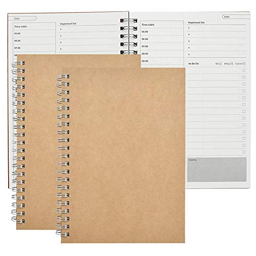 2 Pack To Do List Notebook - Bloc-Notes de Planification Quotidienne, Planificateur de Gestion du Temps Notes à Faire 50 Feuilles/100 Pages Avec Couverture en Kraft Marron, Agenda Ordinateur Portable