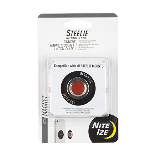 Nite Ize Steelie Orbiter Magnetic Socket and Metal Plate, black, one size (STO-01-R7)