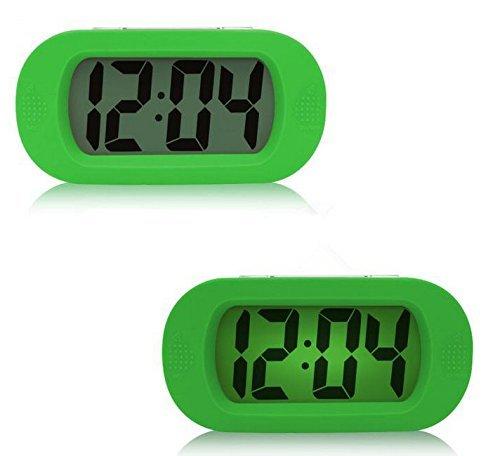 Moon mood LED Digital Réveil Snooze Alarme Horloge, Mini Réveil Matin Silencieux Numérique LCD Alarm Clock électronique Batteries Lumière Colorée Housse en Silicone Lampe de Reveil de Maison (Vert)