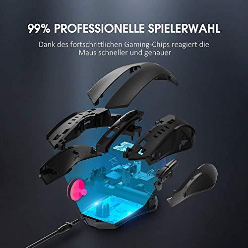 Holife Gaming Maus, 7200 DPI PC Maus mit RGB Beleuchtung/ 8 Programmierbaren Tasten/Feuer Tasten Optischer Sensor Wired Gaming Maus für pro Gamer (Schwarz)
