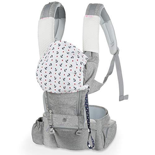 Lictin Mochila Portabebés - 6 en 1 Portabebe Ergonómico con Asiento Transpirable y Ajustable, con Dos Baberos una Cadena de Chupete, Adecuado para Bebés de 3.5KG a 15KG