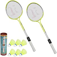 SUNLEY Phantom Set of 2 Piece Badminton Racket with 6 Piece Nylon Shuttle