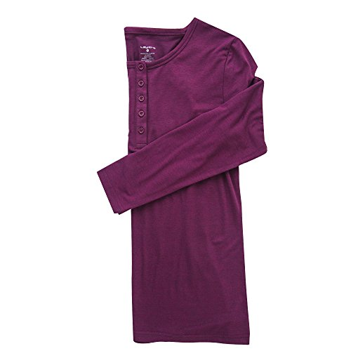 Layer 8 Womens Ladies Long Sleeves Basic Henley Lounge Top Shirt Heather Berry Purple Medium