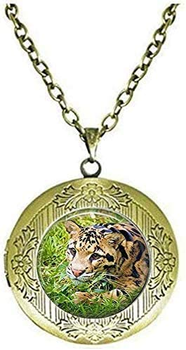 Clouded Leopard Photography Art Locket Necklace Art Picture Jewelry
