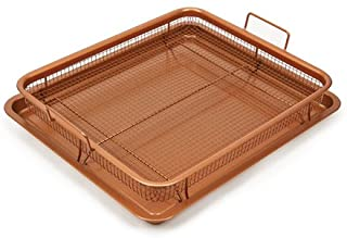 Copper Chef Nonstick Copper Crisper Pan, 12 x 18 Inch Deluxe, 2-Piece Set, Copper