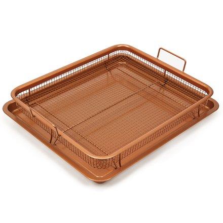 Copper Chef Nonstick Copper Crisper Pan, 12 x 18 Inch Deluxe, 2-Piece Set, Copper