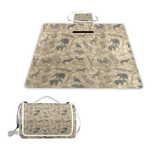 TIZORAX Couverture de Pique-Nique Vintage Motif éléphant Girafe Tigre zèbre et cerf Imperméable Extérieur Couverture Pliable Pliable Pliable Panier de Pique-Nique pour Plage Camping Randonnée