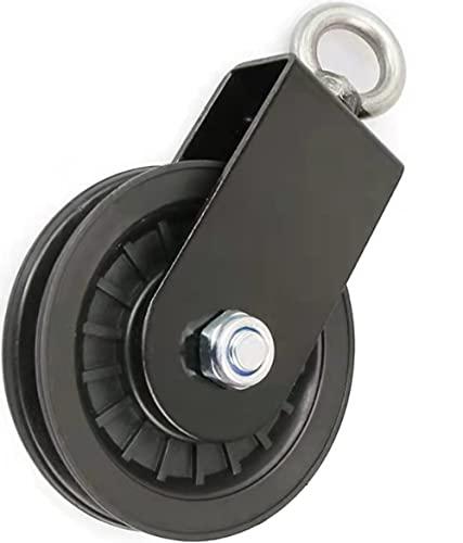 Voarge 1PC Bloque de Polea Giratoria de única, Rueda de elevación del rodillo, Poleas Tendedero para Cuerda Cables Sistema de polea de gimnasio con soporte de montaje en U