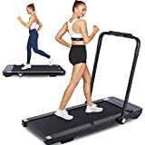 FUNMILY 2 in 1 Folding Treadmill for Home, 2.25HP Electric Under Desk Treadmill, Installation-Free with Bluetooth Speaker, Remote Control, LCD Display, Portable Walking & Running Machine (Black)
