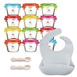 Jocate Borosilicate Glass Baby Food Storage Jars with Leakproof Lids   Glass Baby Food Jars   Baby Food Containers Glass   Baby Containers Freezer, Dishwasher, Oven & Microwave Safe   Infant & Babies