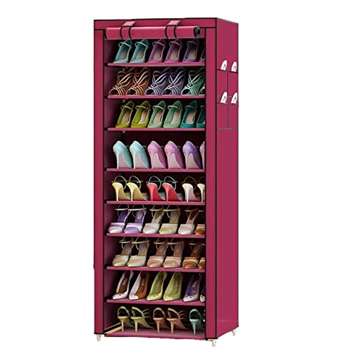 GZCZ Dustproof Home Shoe Racks Organizer Shoe Cabinet Multiple Layers Shoes Shelf Shoe Rack with Cover (Red) …
