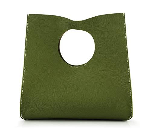 Hoxis Vintage Minimalist Style Soft Pu Leather Handbag Clutch Small Tote (Olive)