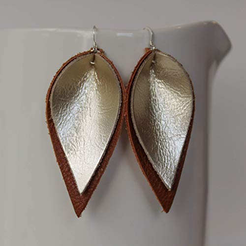 Genuine Leather & Sterling Silver Leaf Earrings // Gold on Brown Leather // Joanna Gaines Inspired