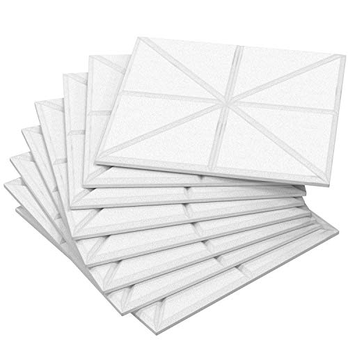 Acoustic Sound Absorbing Panels - 8 Pack Thick Noise Reducing High Density Padding, Lab Tested NRC 0.95, Decorative Wall Tiles, Dampening Treatment Better than Foam, 11.8'x 11.8'x 0.47' White