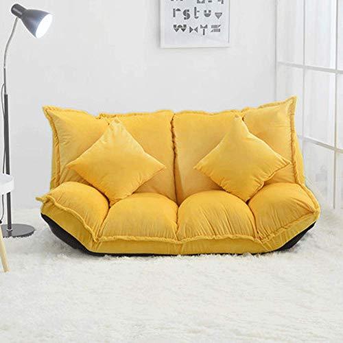90GJ Faule Couch Klapp Einzel- und kleine Wohnung Schlafzimmer kleines Schlafsofa Stuhl Klapp gelb Klappschlafsofa