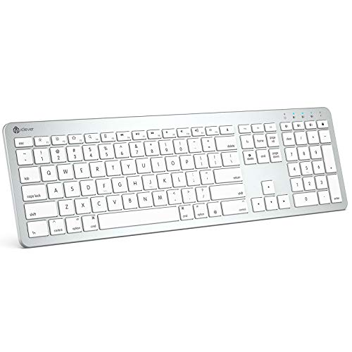 iClever Multi-Device Bluetooth Keyboard - BKA3-03S Rechargeable Ultra Slim Keyboard Full Size with Number Pad, Stable Connection Slim White Bluetooth Keyboard for Mac, iOS, MacBook, iMac, iPad, iPhone
