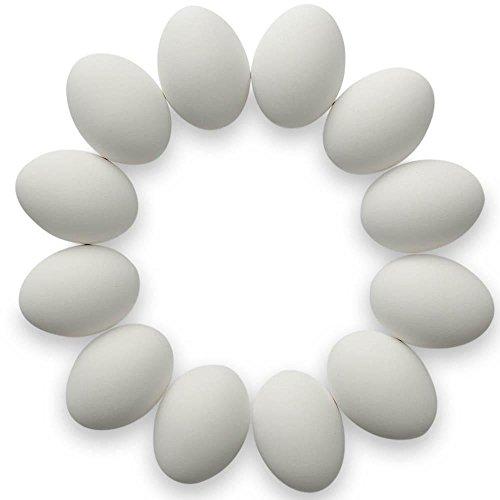 Set of 12 White Ceramic Eggs 2.5 Inches