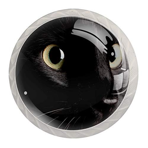 Gato negro (2) 4 Piezas Perilla del Cajón del Gabinete,Mango de un Solo Orificio/Tirador de Puerta de Armario,Decoración del Hogar de Gabinete y Decoración del Hogar