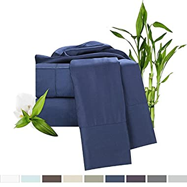 Bamboo Bed Sheet Set, Blue (Navy) King Size, By Clara Clark, 100% Rayon Made From Bamboo Sheets, Luxury Super Silky Soft With Extra Thick Corner Elastic Straps On Fitted Sheet, Machine Washable