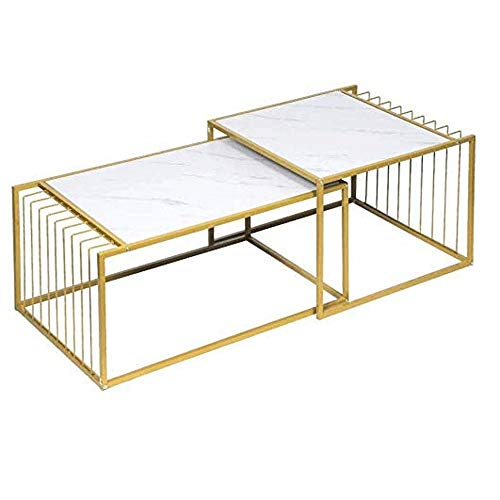 Fashionable Bedside Table Side Table,Square Modern Elegant/Coffee Table, Sofa Table for Living Room Bedroom, Metal, Gold, 2 Square Nesting Table Multifunctional for Bedroom