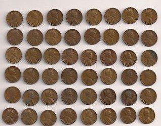 50 Wheat Pennies 1909-1958 No Duplicates