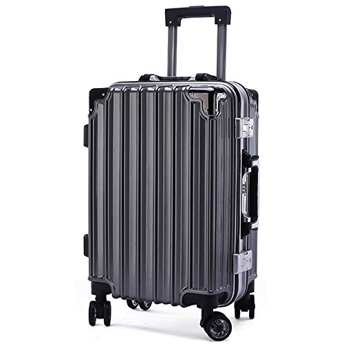 Luggage Aluminum Frame Lever Box Male and Female 24 inches Deep Gray