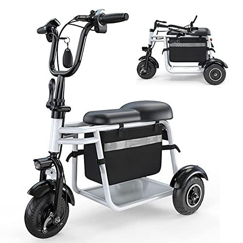 EWYI Scooter De Movilidad para Adultos con 3 Ruedas, Ligero Plegable Sillas De Ruedas Eléctricas Móviles, Triciclo Eléctrico para Adultos Mayores Discapacitados Viaje Al 45km