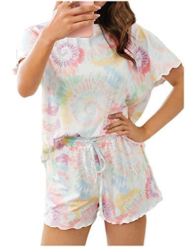 Ever-Pretty Tie-Dye Conjunto de Pijama Mujer Camiseta y Pantalones Cortos Casuales Verano Multicolor 2 S