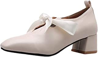Smilice Women Shoes with Mid Heel and Bowtie