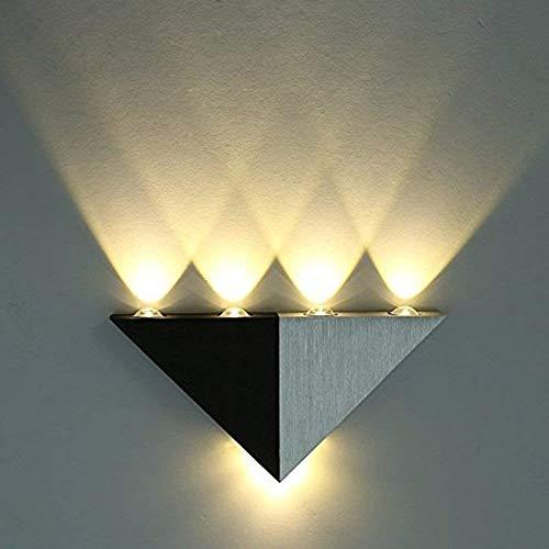 Asvert Apliques de Pared Escaleras Lámpara de Pared LED triángulo de aluminio arriba y abajo para Dormitorio, Pasillo, Sala de Estar, KTV (blanco cálido)