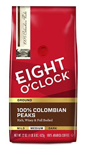 Eight O'Clock Coffee 100% Colombian Peaks, Medium Roast, Ground Coffee, 22 Ounce (Pack of 1), 100% Arabica, Kosher Certified