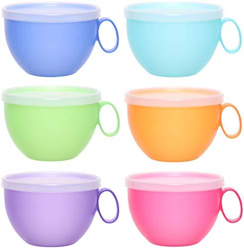 idea-station NEO Kunststoff-Tassen 6 Stück, 500 ml, bunt, mit Deckel, mehrweg, bruchsicher, Griff, Henkel, Set, XXL-Tassen, Kaffee-Becher, Kaffee-Tasse, Tee-Tasse, Camping-Geschirr, Camping-Tasse