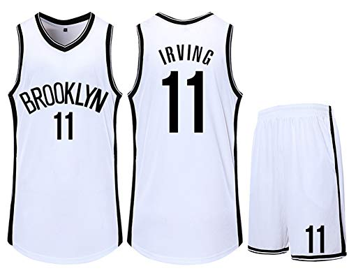 NMABY Men's Boston Celtics Jersey - Kyrie Irving # 11 Adolescentes Malla Bordado Baloncesto Deporte Jersey sin Mangas Deporte Chaleco Superior Pantalones Cortos White-L