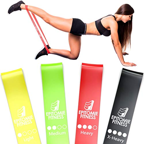 Resistance Band Set of 4 - Premium Natural Latex Fitness Bands for Home Exercises, Crossfit, Rehab, Physical Therapy, Stretching & More