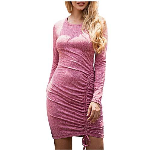 LuminitA Damen Figurbetontes Kleid Winter Casual Rundhalsausschnitt Lange Ärmel Strick Abend Party Bleistiftkleid - Pink - Klein