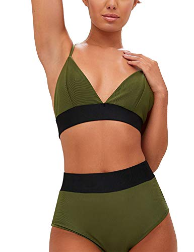 Blooming Jelly Womens High Waist Bikinis Taille Haute Set Push Up cravate rembourrée Maillot de bain noué flatteur Maillot de bain