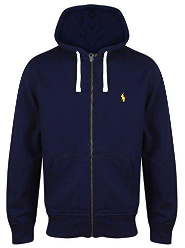 Ralph Lauren - Felpa da uomo in pile con cappuccio, vari colori, S - XXL Navy (Yellow Logo) XL