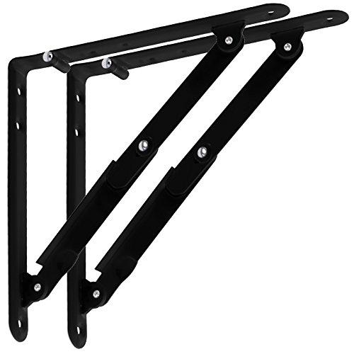 1 Paar SO-TECH® Klappkonsole Regalbodenträger / 205 x 200 x 25 mm/Stahl schwarz/klappbar/Design trifft auf Funktion