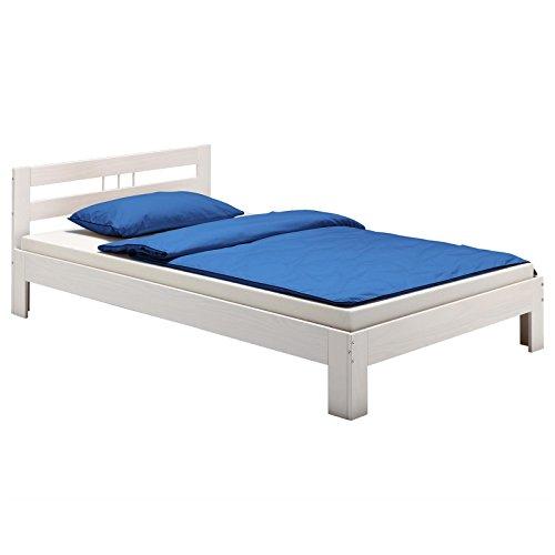 IDIMEX Massivholzbett Theo Jugendbett Bettgestell Einzelbett mit Kopfteil Kiefer massiv 100 x 200 cm in weiß lackiert