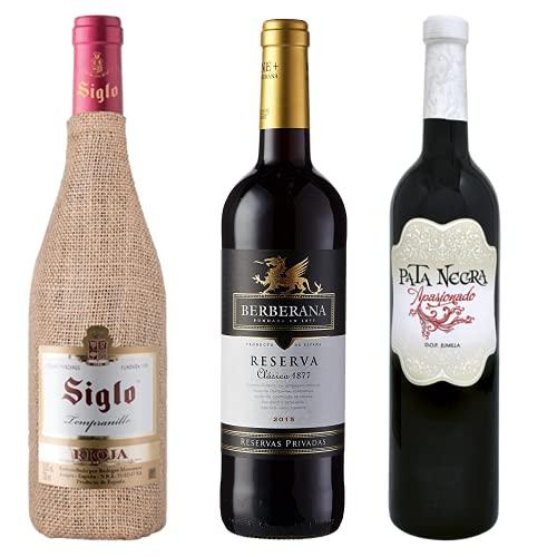 Vino para regalar - Caja de vino tinto D.O I Siglo, Berbedana Selección Oro, Pata Negra Apasionado I Regalo Original